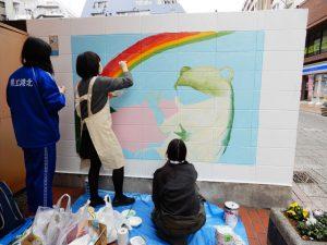 港北高校美術部パデュ通り壁画~何ができるかな?