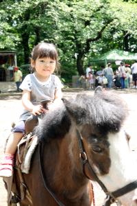 毎年大人気で大行列のポニー乗馬
